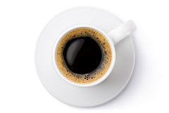 White ceramic coffee mug on the saucer. Top view. Stock Photography