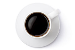 White ceramic coffee mug on the saucer. Top view. Royalty Free Stock Photos