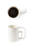 White ceramic cup of coffee isolated. Over the white background, set of two different foreshortenings Royalty Free Stock Photos