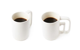 White ceramic cup of coffee isolated. Over the white background, set of two different foreshortenings Stock Photography