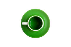 White ceramic cup on a green saucer Stock Photography