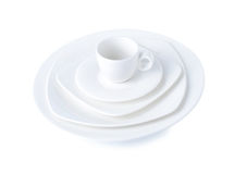 White ceramic cup and plate. Royalty Free Stock Photography