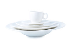 White ceramic cup and plate. Royalty Free Stock Images