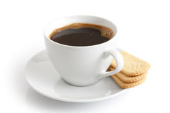 White ceramic cup and saucer with black coffee and finger biscui Stock Photos