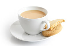 White ceramic cup and saucer with tea and shortbread biscuits. I Royalty Free Stock Photo