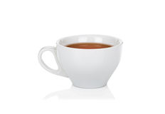 White ceramic cup of tea on white Royalty Free Stock Image