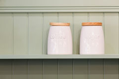 White ceramic jars Royalty Free Stock Image