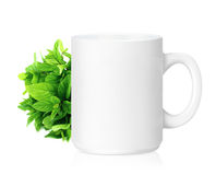 White ceramic mug. With Herbs, Herbs Drink,  Isolated on a white. (with clipping work path Royalty Free Stock Photography