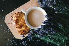 White Ceramic Mug With Brown Liquid Inside Beside Purple Flower and Pastry Royalty Free Stock Photo