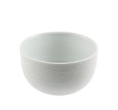 White ceramic piola bowl. Isolated over white background Stock Photos