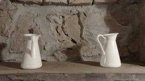 White ceramic pitchers Stock Image