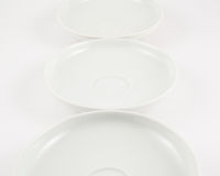 White ceramic plate composition background Stock Photo