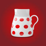 White ceramic pot with red dots Stock Photography