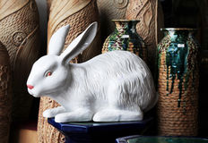 The white ceramic rabbit Stock Photo