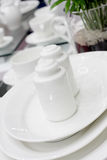 White ceramic saltcellar and pepperbox Royalty Free Stock Images