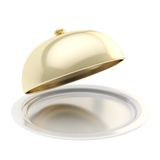 White ceramic salver with a golden food cover isolated Stock Photo