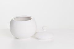 White ceramic sugar-bowl Stock Photos