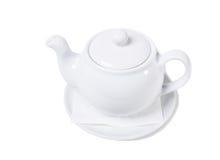 White ceramic tea pot. Stock Photos