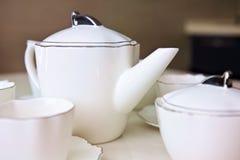 White ceramic tea set Stock Image