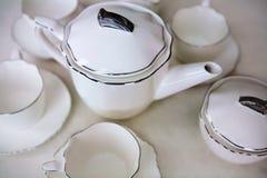 White ceramic tea set Stock Photo