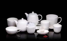 White ceramic tea set Stock Photos