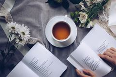 White Ceramic Teacup With Saucer Near Two Books Above Gray Floral Textile royalty free stock photography