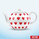 White ceramic teapot with hearts texture. Vector. Illustration. of background stock illustration