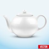 White ceramic teapot. Vector illustration. Stock Photos