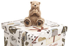 White ceramic toy bear royalty free stock images