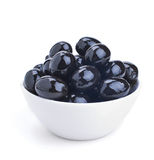 White ceramics bowl with black olives Royalty Free Stock Photography