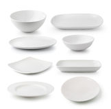 White ceramics plate and bowl Royalty Free Stock Photo