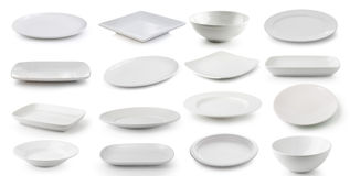 White  ceramics plate and bowl isolated on white background Stock Photography