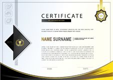 White certificate with colorful design elements. Black, gold, yellow colors. Royalty Free Stock Photos