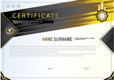 White certificate with colorful design elements. Black, gold, yellow colors. Stock Photography
