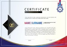 White certificate with colorful design elements. Black, red violet colors.   Royalty Free Stock Photo