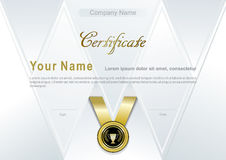 White certificate with gold emblem. Triangle background Royalty Free Stock Image