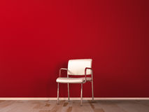 White chair. In red room, on wooden flooring royalty free illustration