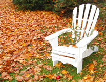 White chair and autumn leaves. White chair on grass surrounded by scattered autumn leaves Stock Photo