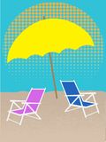White Chair on Beach Under Umbrella Halftones Royalty Free Stock Image