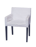 White chair with black legs isolated on white Stock Photos