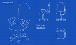 White chair blueprint Stock Photography