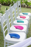 White chair decoration in wedding celebration Royalty Free Stock Photos