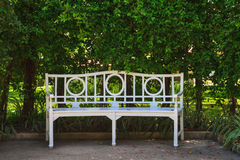 White chair in the garden Royalty Free Stock Photo