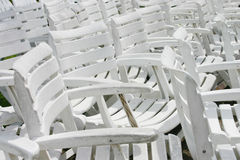 White Chair Group. At the beach, Thailand Stock Images