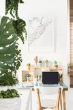 White chair standing by the simple wooden desk with cactuses, coffee cup, notebook and laptop in bright home office interior with. White chair standing by a stock photo