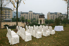White chair on wedding party Stock Photo