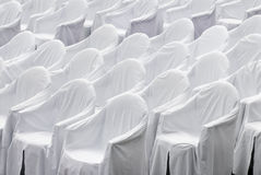 White chairs. White covers on chairs before a concert Stock Photography