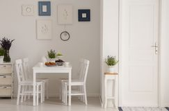 Free White Chairs And Table In Minimal Dining Room Interior With Plants, Posters And Door. Real Photo Stock Images - 127701374