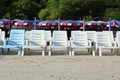 A White Chairs at the Beach. White Chairs at the Beach royalty free stock image