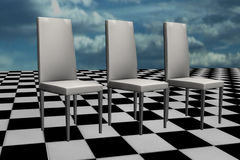 White chairs on chess floor. Illustration of white chairs on chess floor over sky background Stock Photos